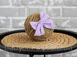 """Пов'язка на голову для дівчинки """"Бантик"""" на резинці one size, фіолетова"""