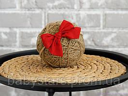 """Пов'язка на голову дівчинці """"Бантик"""" на резинці one size, червона"""