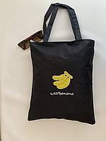 Текстильная эко сумка шоппер из ткани черная с принтом, фото 1