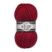 Толстая зимняя пряжа (25%-шерсть,75%-акрил;100г/55м) Alıze MEGAFIL 56 (красный)