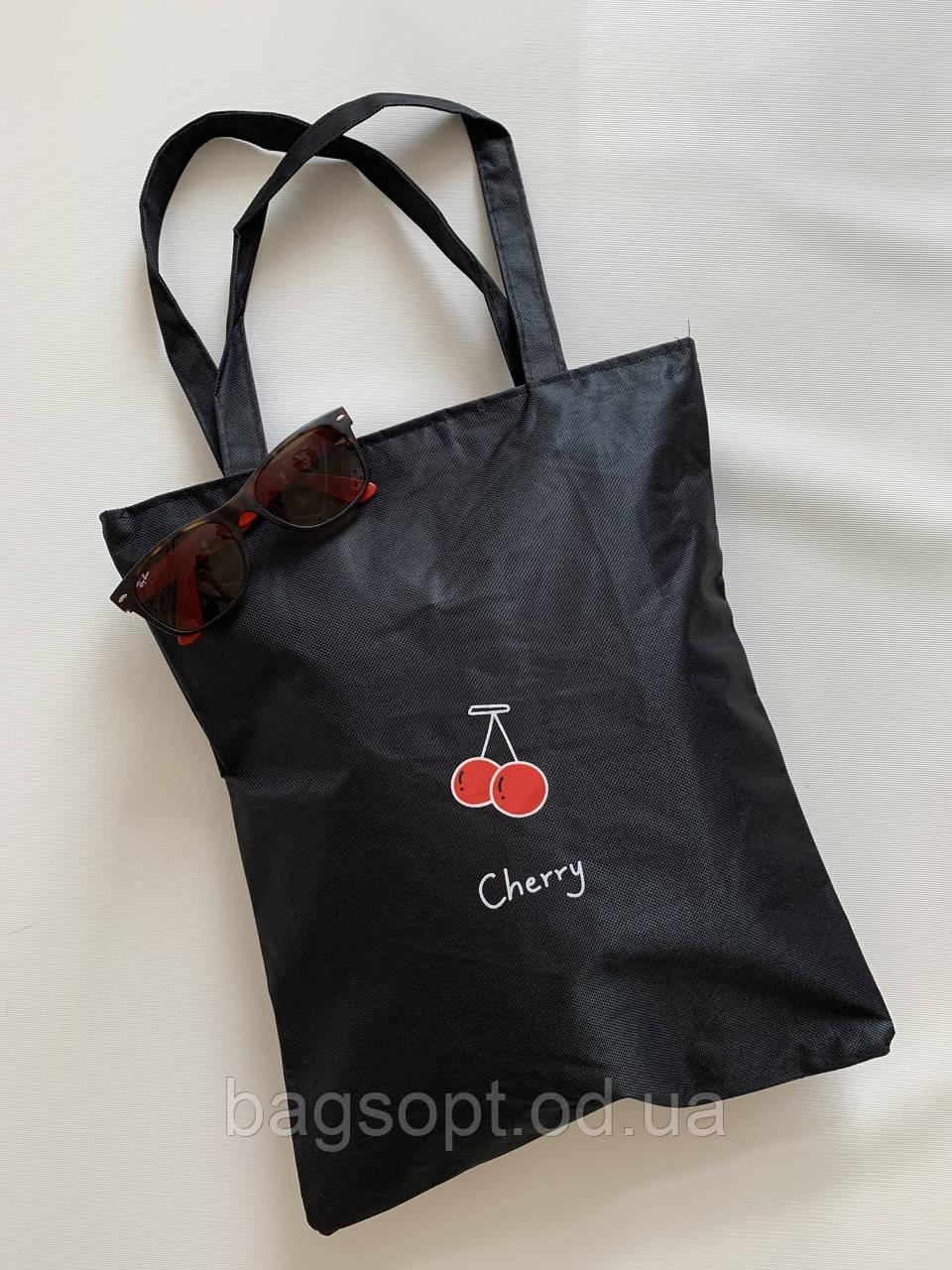 Эко сумка-шоппер черная с принтом текстильная из хлопка