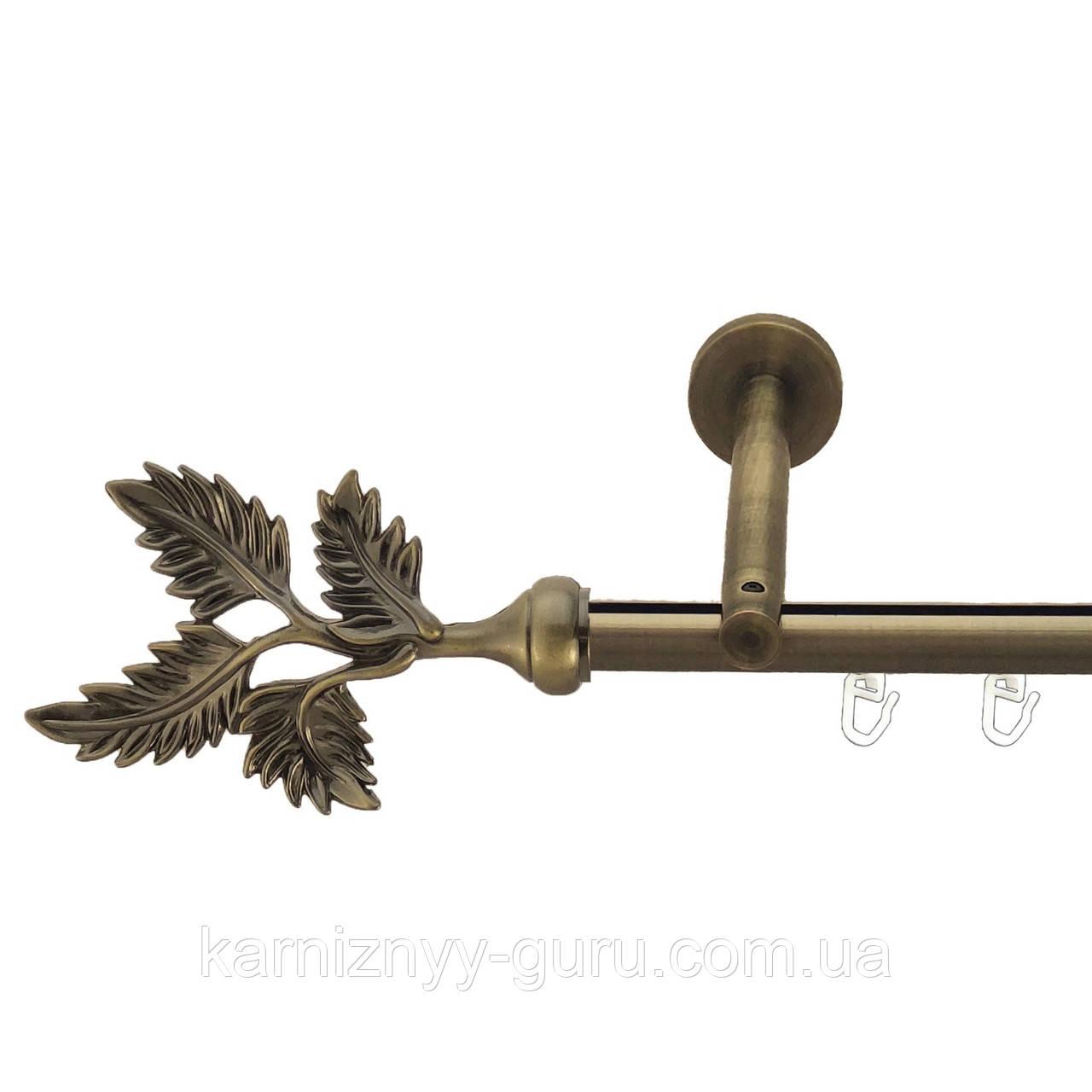 Карниз для штор ø 16 мм, одинарный, наконечник Папороть