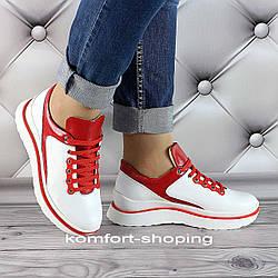 Женские кроссовки на шнуровке кожаные, белый+красный  V 1286