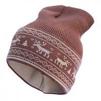 Шапка-бини из шерсти мериноса СОФИЯ (размер 48-56, коричневый с оленями)