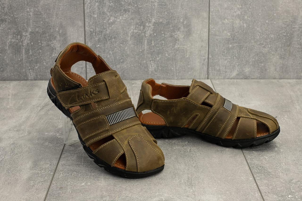 Подростковые сандали кожаные летние оливковые Yuves 158