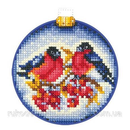 Набор для вышивки крестом Сделай Своими Руками Новогодние шары. Снегири Н-24