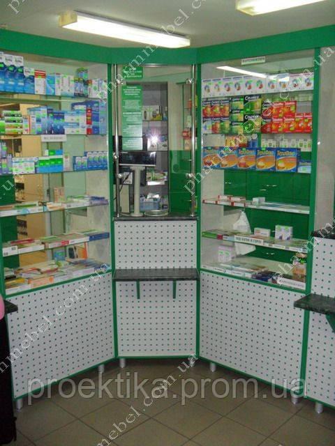 Аптечная мебель стеллажи, витрины, прилавки, фото 1