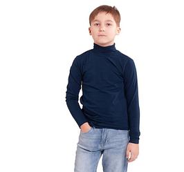 Водолазка (гольф) детская для девочек и мальчиков темно синяя трикотажная хлопок Украина