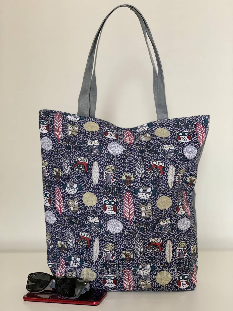 Тканевая женская эко сумка шоппер с совами
