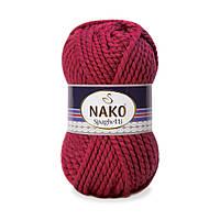 Толстая пряжа (25%-шерсть,75%-акрил; 100г/60м) NAKO Spaghetti 3630(т.бордо)
