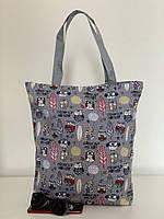 Молодежная текстильная пляжная сумка шоппер летняя с совами, фото 1