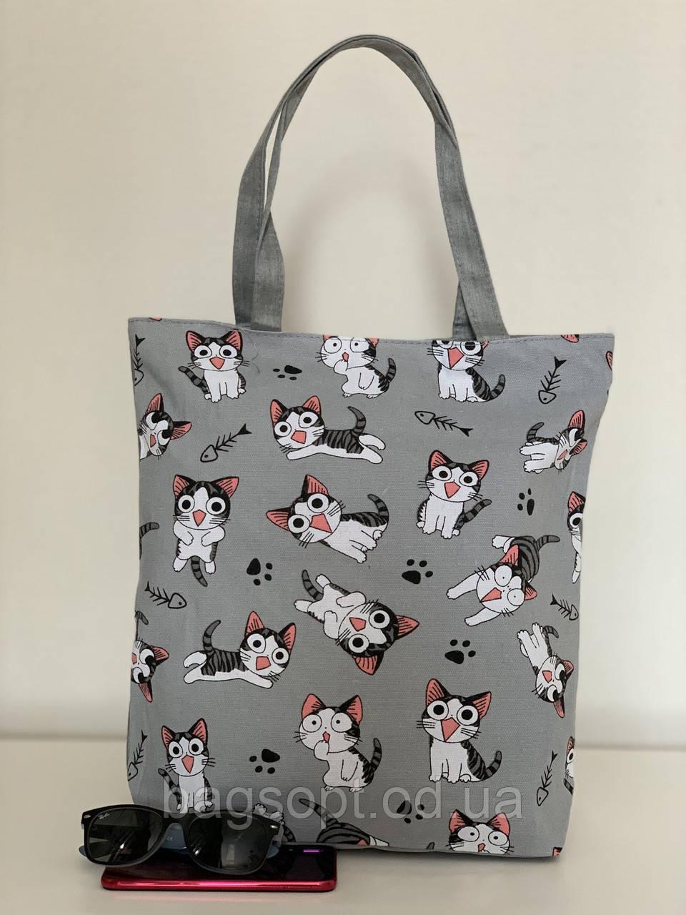 Тканевая молодежная сумка пляжная летняя из хлопка с котами