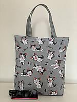 Тканевая молодежная сумка пляжная летняя из хлопка с котами, фото 1