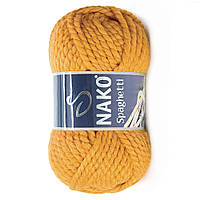 Толстая пряжа (25%-шерсть,75%-акрил; 100г/60м) NAKO Spaghetti 941(горчичный)