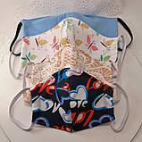 Многоразовая 3 слойная защитная  трикотаж тканевая маска маска для лица многоразовая детская женская мужская, фото 3