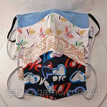 Многоразовая  маска трехслойная защитная  трикотажная тканевая маска, маска для лица  Детская или Взрослая