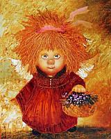 Алмазная мозаика Ангел с корзинкой цветов DM-187 40x50см Полная зашивка. Набор алмазной вышивки