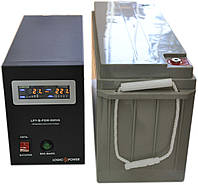 Комплект резервного питания ИБП Logicpower LPY-B-PSW-500 + АКБ LP-MG150 для 15-20ч работы газового котла, фото 1