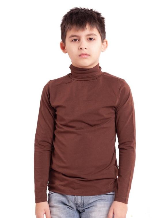 Детская водолазка (гольф) для девочек и мальчиков  коричневая трикотажная хлопок Украина