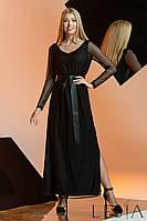 Нарядное макси платье из сетки в принт горошек Lesya Мабель