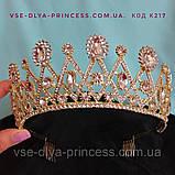 Діадема корона тіара під золото з червоними камінцями, висота 6 див., фото 4