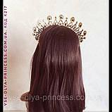 Діадема корона тіара під золото з червоними камінцями, висота 6 див., фото 8