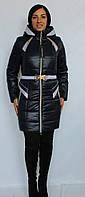 Молодежная куртка на силиконе с поясом темно-синего цвета, размер 48, осень!