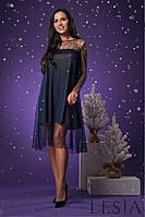 Праздничное женское платье-трапеция классического синего цвета Lesya Марли 4