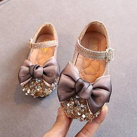 Туфли  нарядные детские  на девочку серебро с бантиком 21-30