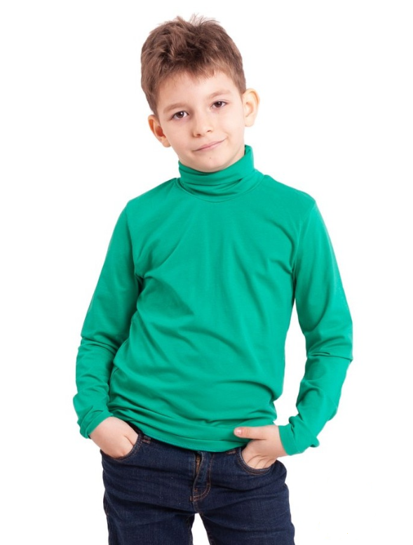 Водолазка (гольф) детская для девочек и мальчиков зеленая трикотажная хлопок Украина