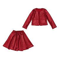 Костюм Sofushka (юбка+жакет) с блеском красный