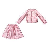 Костюм Sofushka (юбка+жакет) с блеском розовый