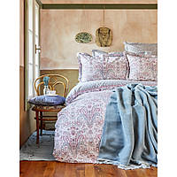 Набор постельное белье с пледом Karaca Home - Luminda pembe 2018-1 розовый евро