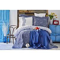 Набор постельное белье с покрывалом + плед Karaca Home - Simi mavi 2018-2 голубой евро