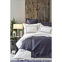 Набор постельное белье с покрывалом Karaca Home - Sophia gri 2019-1 серый евро