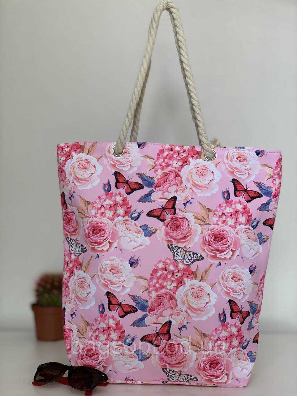 Текстильная пляжная сумка шоппер летняя розовая