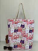 Женская тканевая летняя пляжная сумка шоппер с котами Одесса 7 км