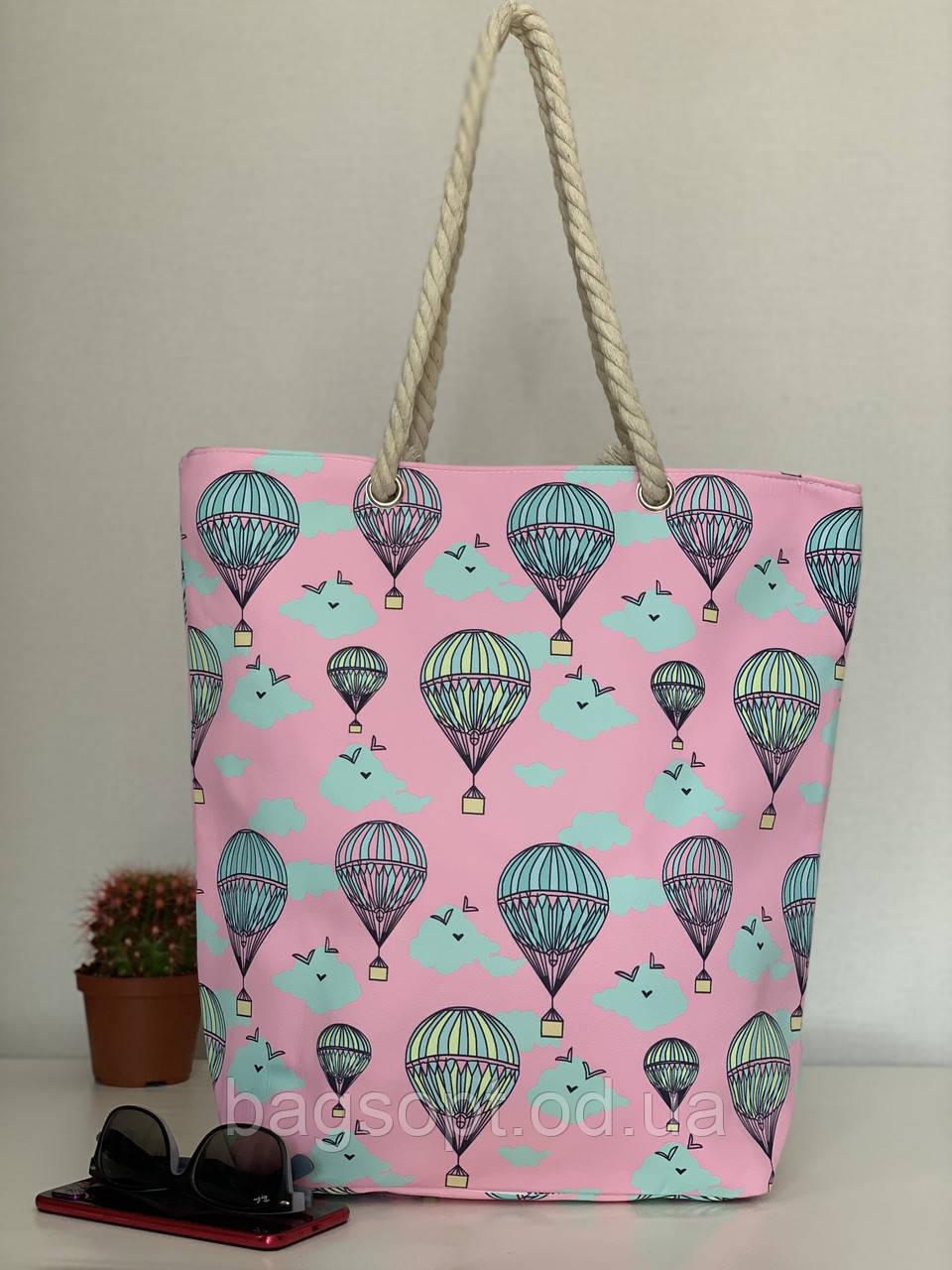 Пляжная сумка шоппер розовая текстильная хлопковая летняя