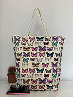 Сумка пляжная коттоновая женская из текстиля с бабочками, фото 1