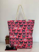 Яркая пляжная сумка шоппер тканевая женская с бабочками, фото 1