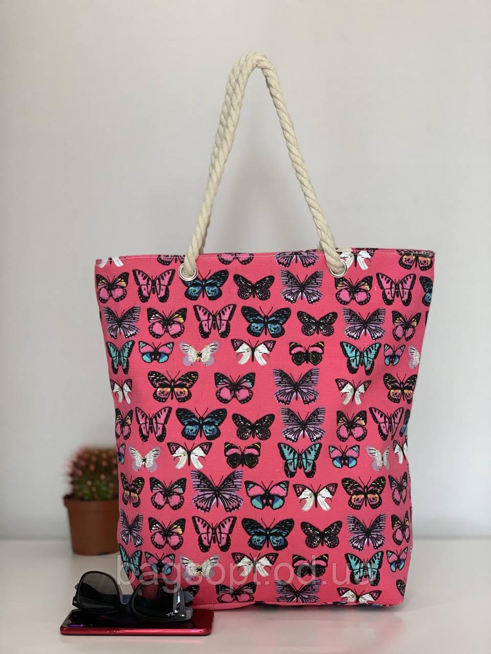 Яркая пляжная сумка шоппер тканевая женская с бабочками