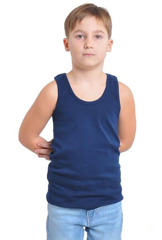 Майка дитяча для дівчаток і хлопчиків синя спортивна трикотажна білизна бавовна широка бретелька Україна