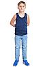 Майка дитяча для дівчаток і хлопчиків синя спортивна трикотажна білизна бавовна широка бретелька Україна, фото 2