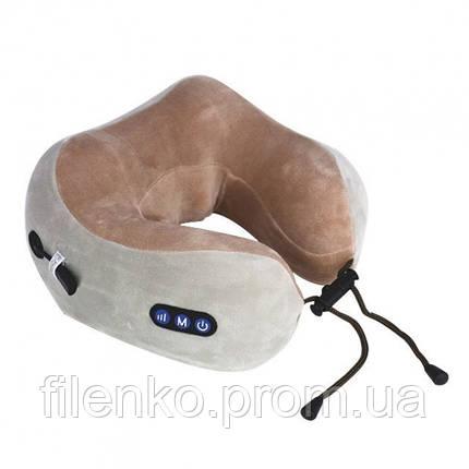 Подушка массажная для шеи U-Shaped Massage Pillow массажер для шеи Серо Коричневый, фото 2