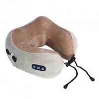 Подушка массажная для шеи U-Shaped Massage Pillow массажер для шеи Серо Коричневый