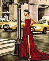 """Картина по номерам и алмазная мозаика 2 в 1. Rainbow Art """"Дама в красном"""" GZS1083-RA"""