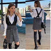 Сарафан женский красивый с юбкой в актуальную клетку с карманами Smpr4178