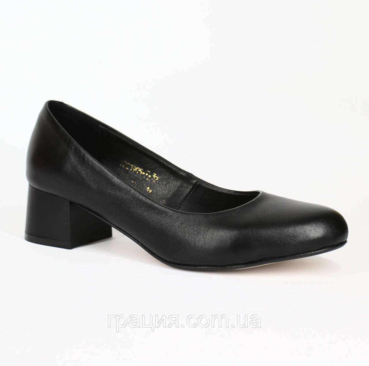 Елегантні жіночі туфлі шкіряні натуральні на більшому підборах