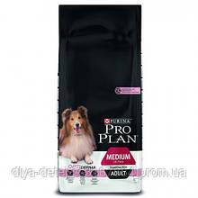 Сухой корм Purina Pro Plan Dog Medium Adult OptiDerma для взрослых собак средних пород с лососем и рисом, 14 кг