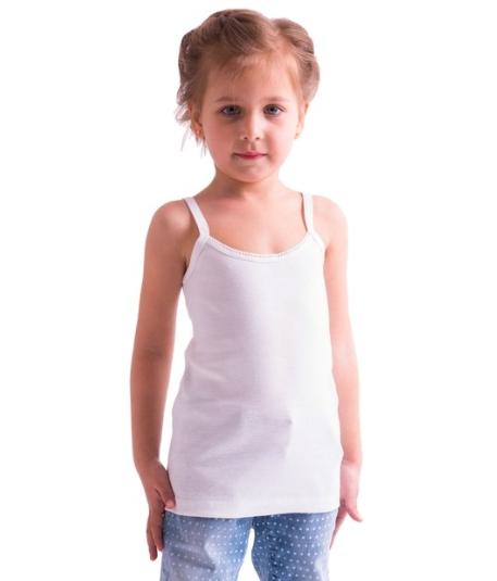 Майка дитяча для дівчаток біла річна трикотажна білизна бавовна вузька бретелька Україна